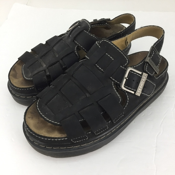 Mens Black Leather Sandals 9 Gel Sole